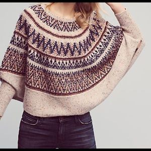 ANTHROPOLOGIE Sleeping in Snow Poncho Sweater